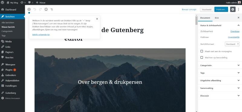 Gutenberg WordPress, Hoe kan ik Gutenberg gebruiken in WordPress 5.0, WordPress webdesign | SEO | Webshop